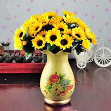 Top 14 Head  Fake Sunflower Artificial Silk Flower Bunch Wedding Floral Decor DS