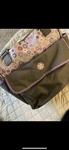 Diaper Bag Baby Boom Baby Tote Gray Pink purple flowers 5 Pockets baby essential