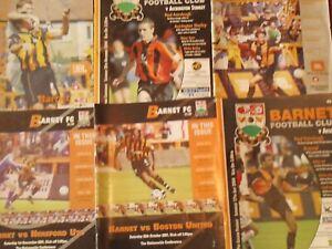 BARNET HOME PROGRAMMES SEASON  2001/02 - 2004/05