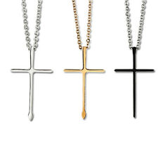 Sale Hot Unisex's Black Silver Gold Stainless Steel Cross Pendant Necklace Chain