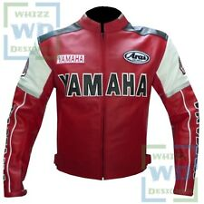 Red Yamaha 0820 Motorbike Motorcycle Biker Armoured Racing Real Leather Jacket