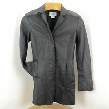 ARMANI EXCHANGE GENUINE BLACK LEATHER LONG SLIM JACKET TRENCH COAT SMALL