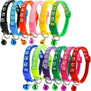 Pets with Bells Little Pet Collar Adjustable Necklace Nylon Polyester Puppy Dog