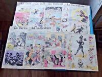 Lot Ancien Important de Caricature Robida fin XIX ème page couleurs , N & B.
