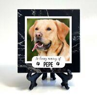 Personalised Natural Black Marble Pet Memorial Plaque Cat Dog Photo Grave Marker
