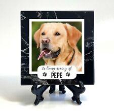 Personalised Black Marble Pet Memorial Plaque Cat Dog Photo Stone Grave Marker