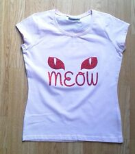 Glitter Halloween T-Shirt CATS EYES MEOW Women's Cute Feline Cap sleeve