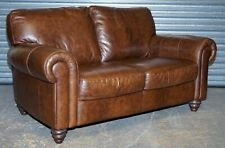 NATUZZI AGED BROWN LEATHER 2 SEATER SOFA - MATCHING ARMCHAIRS AVAILABLE