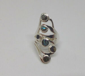 Sterling Silver Green Abalone Shell  Flower Design Statement Ring