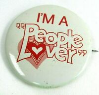 1960s Vintage Pin Button Pinback I'm A People Lover Hearts