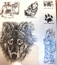 Wolf Pack  Runs Wild Wolves Howling Sketch Cubs Paw Track Rubber Stampin Up Rare