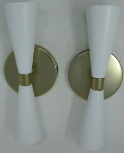 Kalco Milo 310422WVB Wall Sconce (2) LED White Vintage Brass