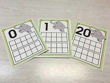 Elephant Count Ten Frames 0-20 Laminated Activity Set - Teaching Supplies