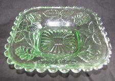 Vintage Glass Dish / Bowl 13.5cm Across Green Retro