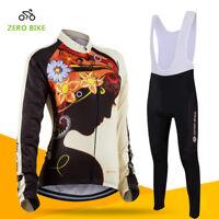 Womens Sports Team Cycling Jersey Sets Bike Bicycle Bib Top Long Sleeve Clothing