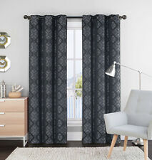"Single (1) Black and Gray Window Curtain Panel: 55"" x 84"", Grommets, Geometrical"