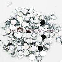 1000 Rhinestones Acrylic Crystal Silver FLAT BACK GEMS 3D Craft 1.5mm to 10mm