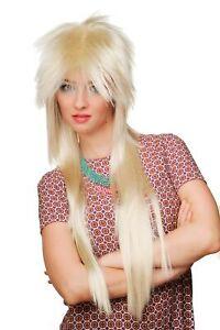 Perruque 80er Années Nuque Longue Blond Long Glam Rock Rockstar Rocker 9666-88