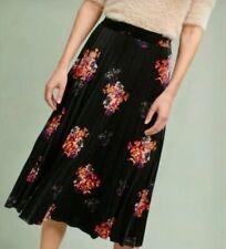 Anthropologie Maeve Pleated Velvet Midi Skirt