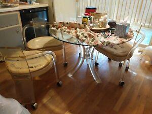"MCM Charles Hollis Jones 48"" Lucite Tusk Dining Table & 4 Chairs Mid-Century"
