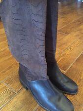 MARKON Dark brown snakeskin embossed leather upper boot Women's Size 9.5