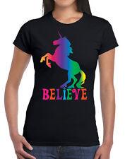 Unicorn Believe Rainbow Funny Fantasy Womens Novelty Party T-shirt Tee Top Black