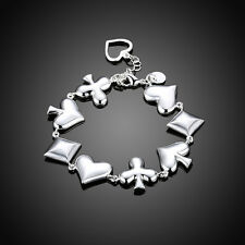 Poker Elements Hot Bracelet Cuff 925 Silver Women Bracelet Bangle Jewelry Gift