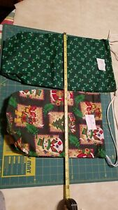 "Lt 8 Pair Gift Bags Christmas Print 2 Sizes 18""×9.5"",  13""×9"" Reusable Fabric"