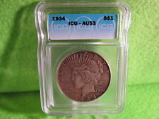 1934 PEACE SILVER DOLLAR GRADED AU53 BY ICG