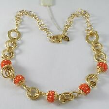 925 STERLING SILVER NECKLACE YELLOW GOLD PLATED CIRCLES WORKED WITH SPHERES
