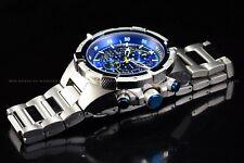 Invicta Men 51mm Aviator Chronograph High Polish Silver Blue Bracelet SS Watch