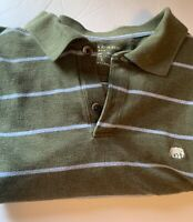 Banana Republic Mens Green Striped 100% Cotton Short Sleeve Polo Shirt Large