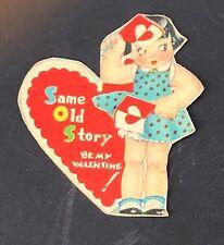 Vtg Tiny 40s 50s Sos Valentines Card Ephemera Greeting Baby Doll Dress Polka Dot