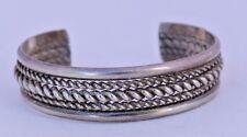 Sterling Silver Chunky 3 Rope Native American Navajo Cuff Bracelet Vintage