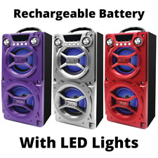 Loud Party Speaker w/LED Lights Bluetooth Big Portable Rechargeable Large Loud