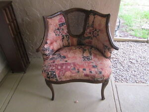 Vintage Bay Murray Wedgewood Wood  Back   Cane  Chair,  Upholstered