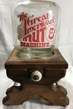 Vintage der Große American Nut Maschine Holz Ständer Glas Gefäß Werbe