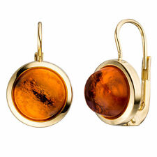 Damen Boutons rund 333 Gold Gelbgold 2 Bernsteine orange Ohrringe Ohrhänger.