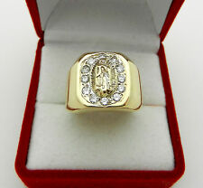 Men's 14k Solid Gold Diamond 0.60 tcw Ring with Virgin Mary,  9.5 gr, size 9