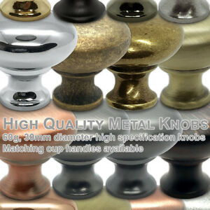 Round Knob 30mm Metal Drawer Cupboard Cabinet Door Kitchen Furniture UK stock