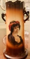 Antique Warwick China IOGA Twig Handled Tall Vase Portrait of Provocative Lady