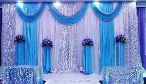 20x10ft Wedding Decor Stage Backdrop Party Drape Swag Sequin Silk Fabric Curtain