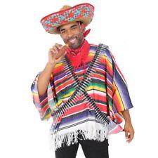 RED MEXICAN BANDIT COSTUME PONCHO SOMBRERO TASH CIGAR BULLET BELTS FANCY DRESS