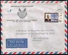 2994 RWANDA TO CHILE OFFICIAL AIR MAIL COVER 1962 KIGALI - SANTIAGO
