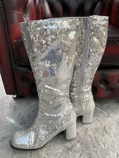 Silver sequinned knee high block heel boots, Size 8