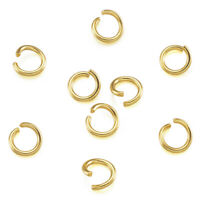 200x 304 Stainless Steel Open Jump Rings For DIY Jewelry Crafting Golden 6x1mm