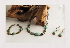 3-tlg. Schmuckset Damen Kette, Armband, Ohrringe 800er Silber mit Türkis-Stein