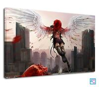 Fresh Anime Fallen Angel Wings Girl Manga Redhead Canvas Print Wall Art Picture