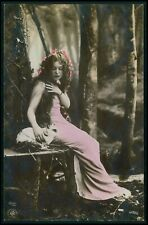 Forest nymph with a Rabbit original old c1910s NPG photo postcard