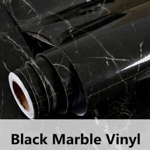 48 in Countertop Wrap Vinyl Black Marble Vinyl Wallpaper for Furniture Kitchen